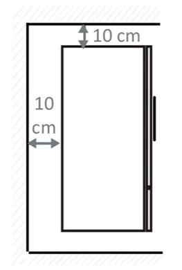 Сзади и сверху холодильника должен быть зазор минимум 10 см